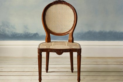 Floral Caned Chair Antique Pecan