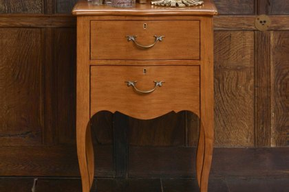 Bombe Bedside Chest  Antique Pecan