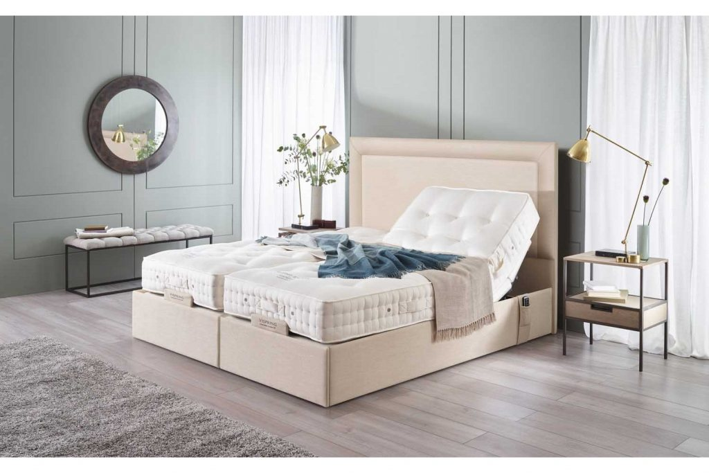 Vispring Sapphire II Adjustable Recliner De Luxe Mattress with Arcadia Headboard
