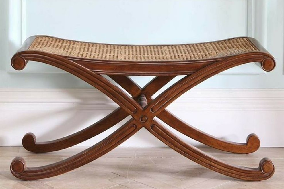 Louis Caned Bench Antique Pecan