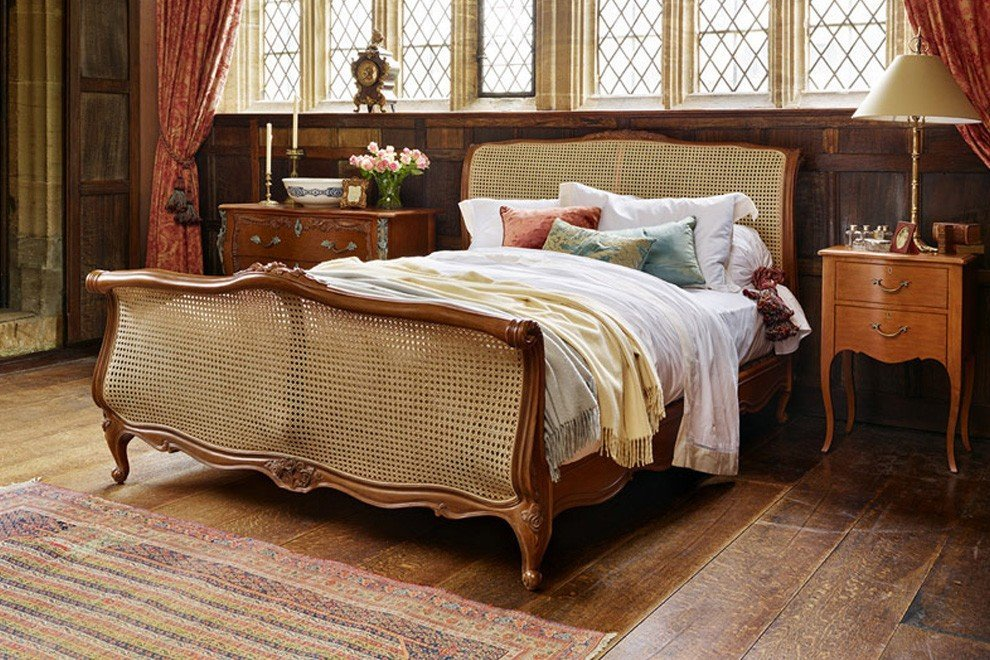 Louis XV Caned Bed