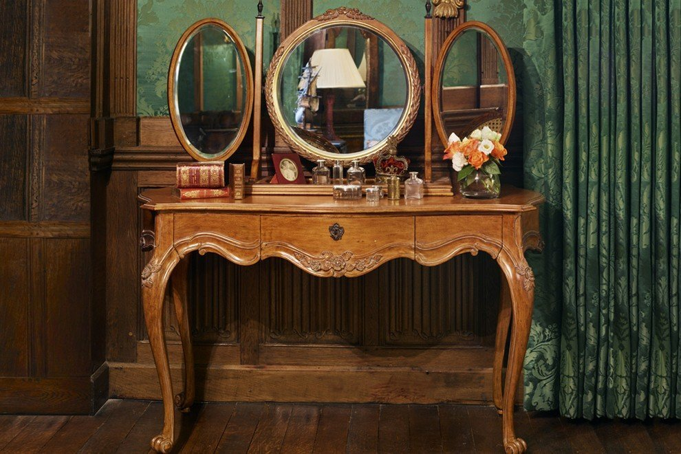 And So To Bed Louis XV Dressing Table Antique Pecan