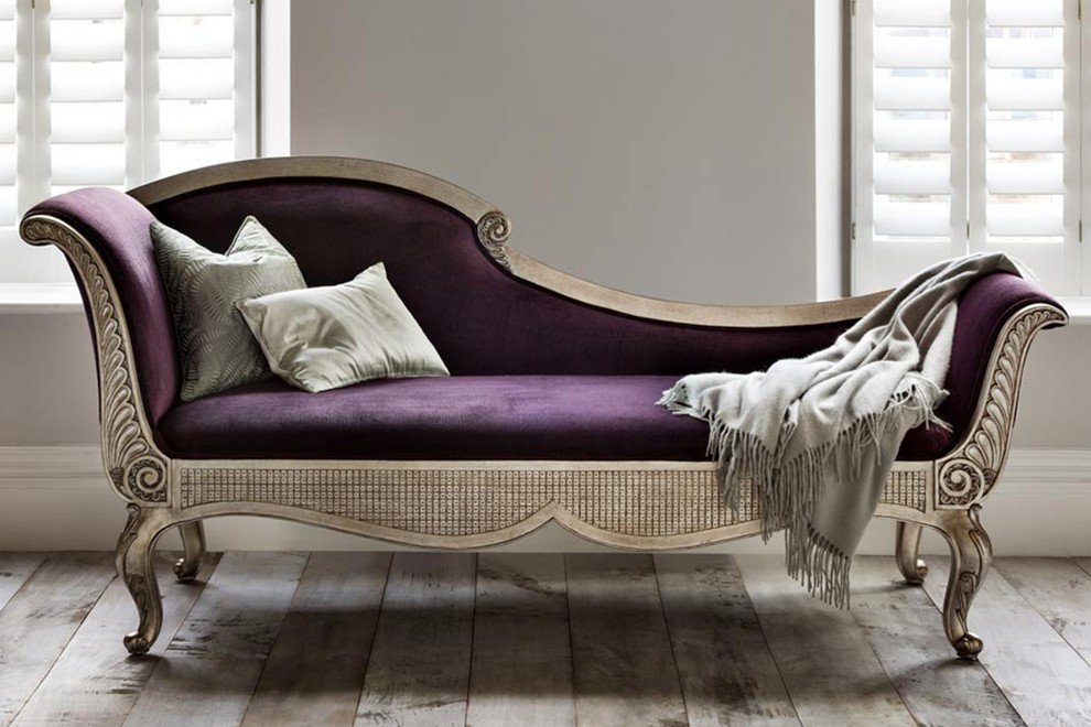 And So To Bed Versailles Leafed Chaise Longue  Silver C Pelham Plum Cat 3