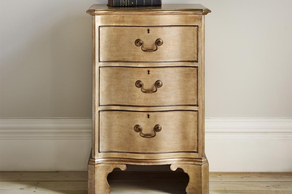 Eclectic Leafed Bedside Chest in Silver F